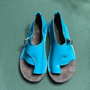 Handmade turquoise leather sandals